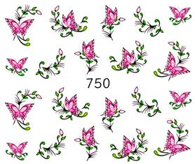 Naklejki wodne na paznokcie - 750 - motylki