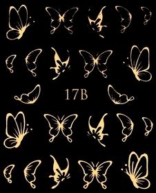Naklejki wodne na paznokcie metaliczne złote motylki