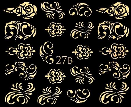 ZŁOTE - Naklejki wodne na paznokcie - 27B (1)