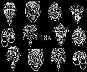 SREBRNE- Naklejki wodne na paznokcie - 18A