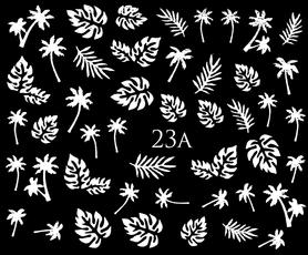 SREBRNE- Naklejki wodne na paznokcie - 23A