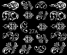 SREBRNE- Naklejki wodne na paznokcie - 27A