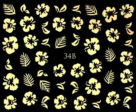 ZŁOTE - Naklejki wodne na paznokcie - 34B (1)