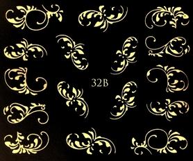 ZŁOTE - Naklejki wodne na paznokcie - 32B
